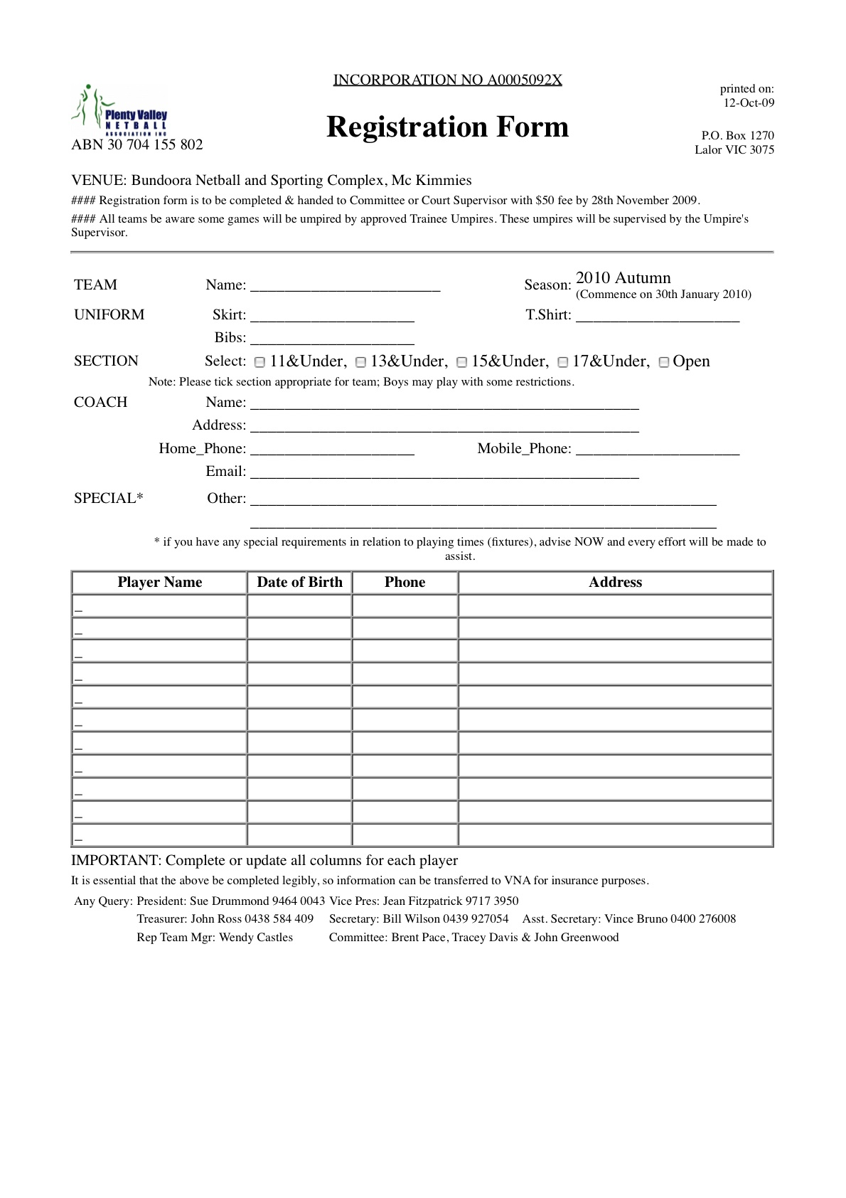 blank patient registration form template – Club Membership Form Template Word